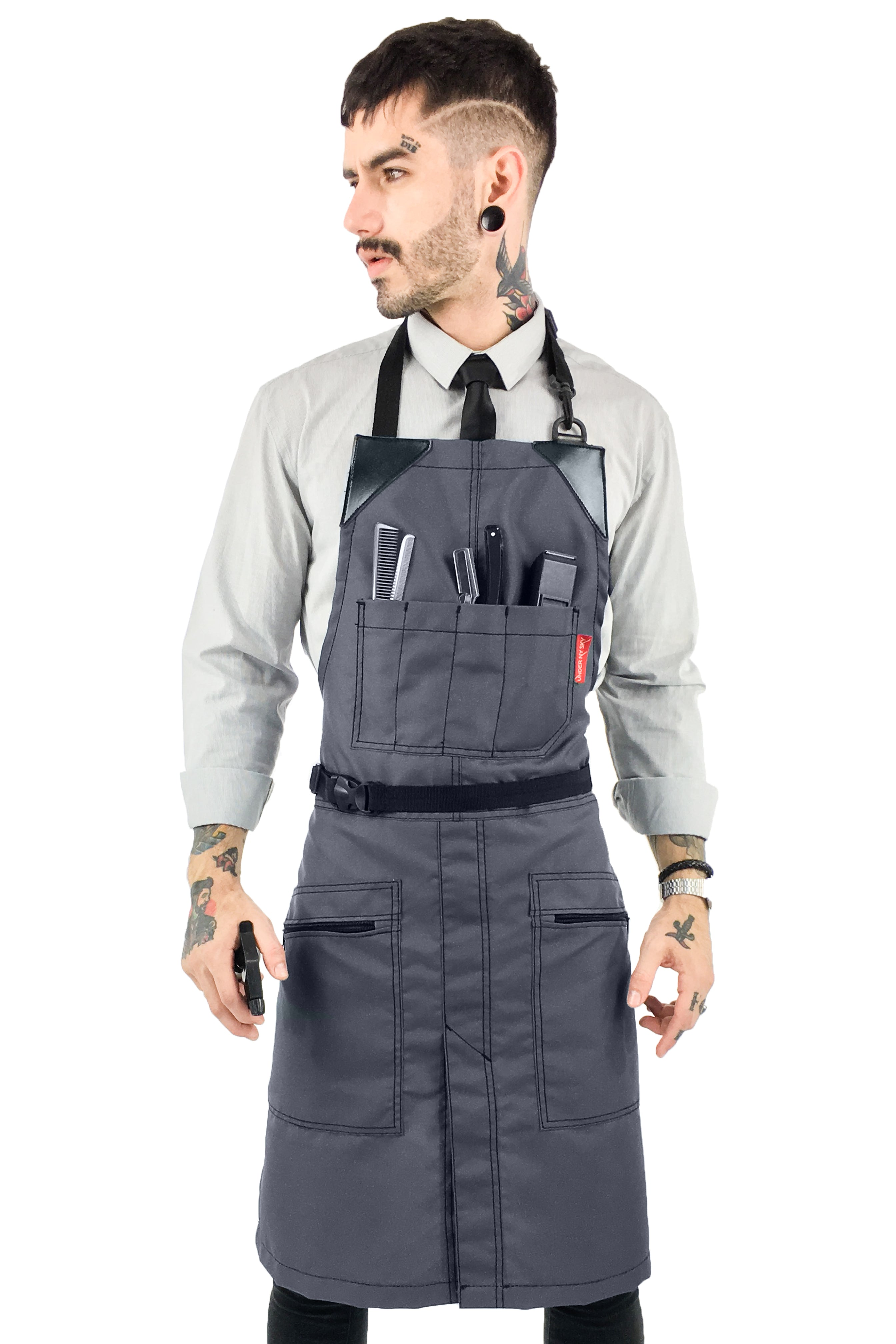 Barber Chemical Waterproof No-Tie Apron - Gray Oxford Canvas