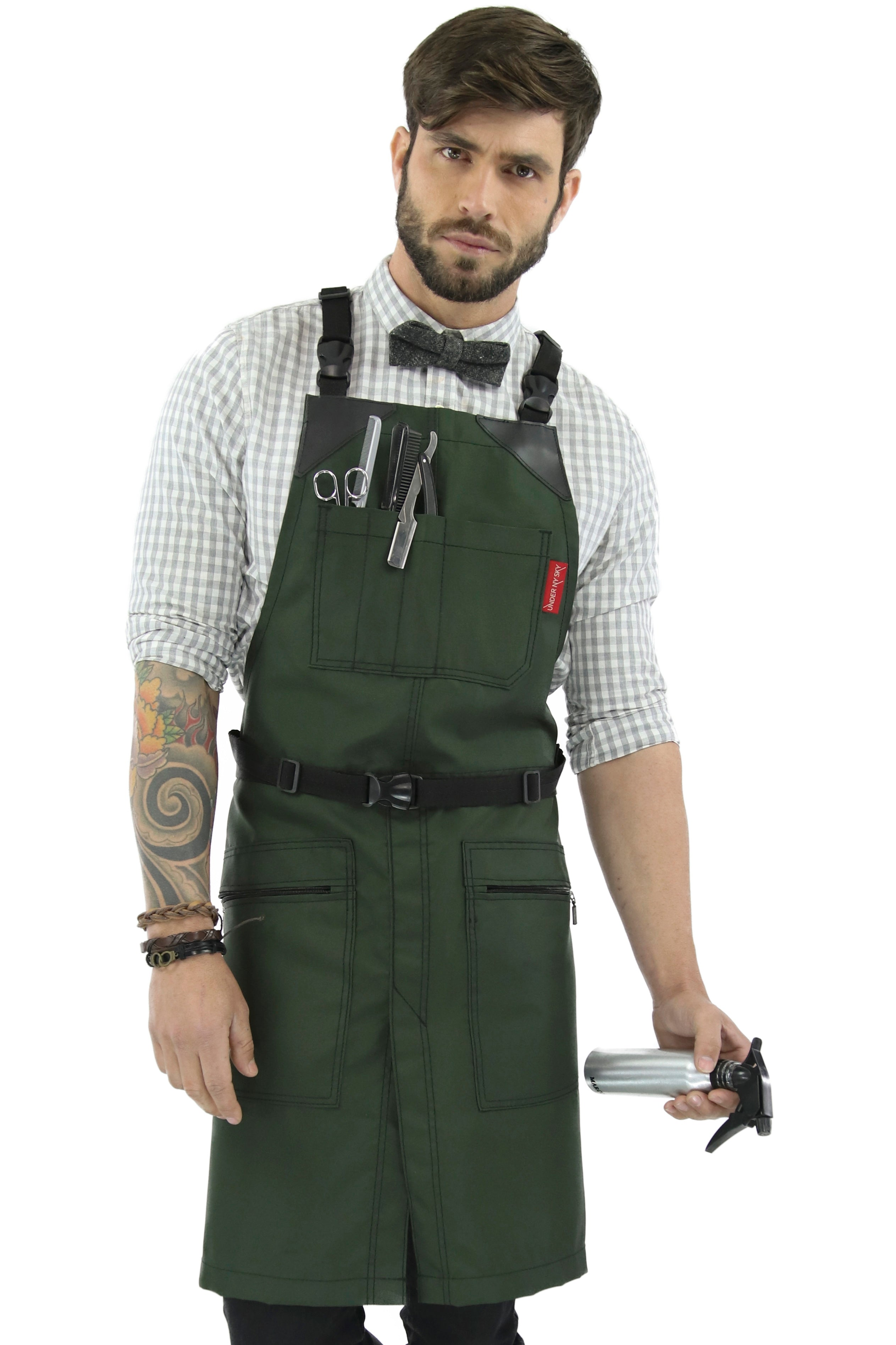 Barber Chemical Waterproof Cross-back Apron - Green Oxford Canvas