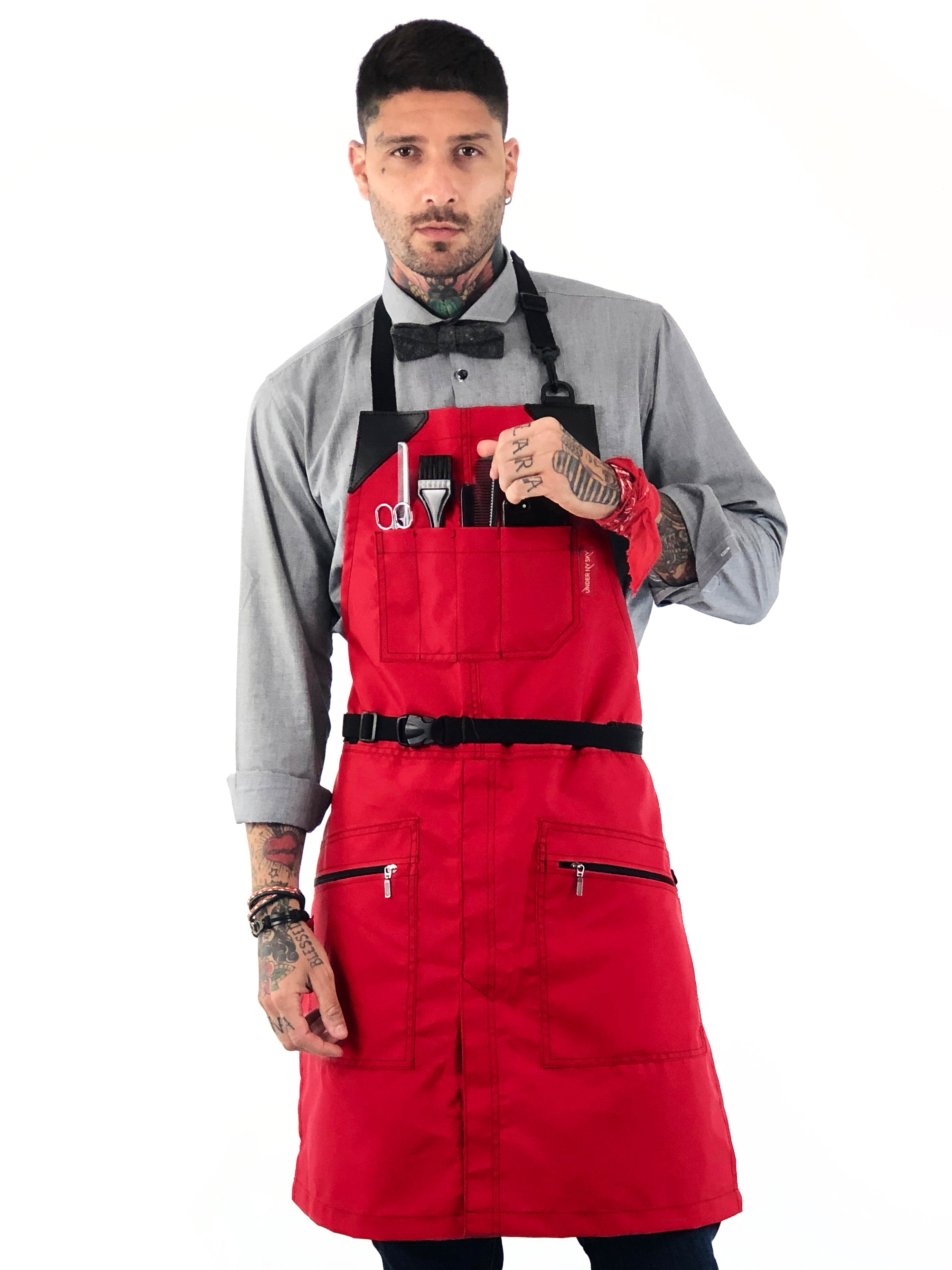 Barber Chemical Waterproof No-Tie Apron - Red Oxford Canvas