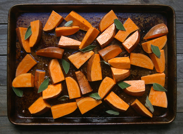 Cut sweet potatoes ready for the oven