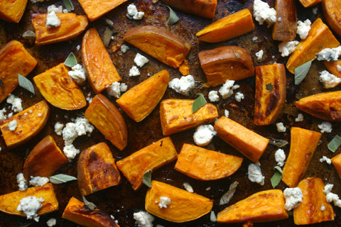 Roasted sweet potatoes fresh from the oven