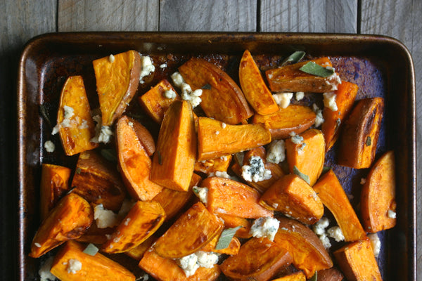 Buffalo Blue Cheese Sweet Potatoes