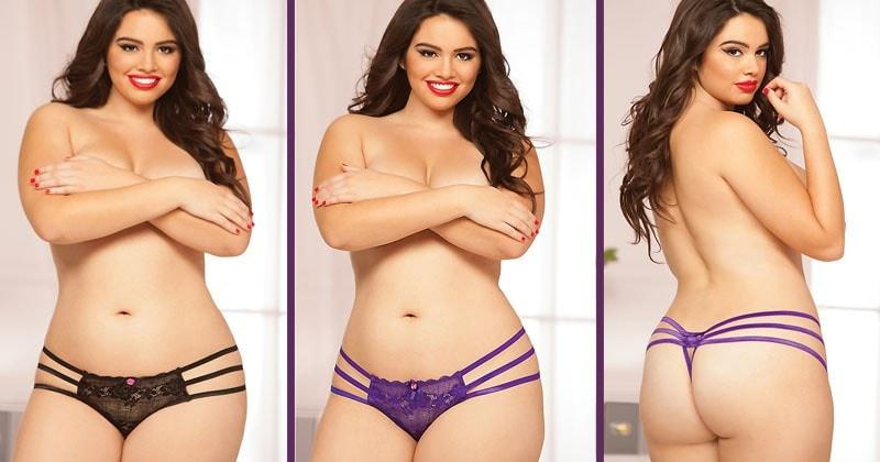 Sweet Surrender Crotchless Thong Duo Plus Size