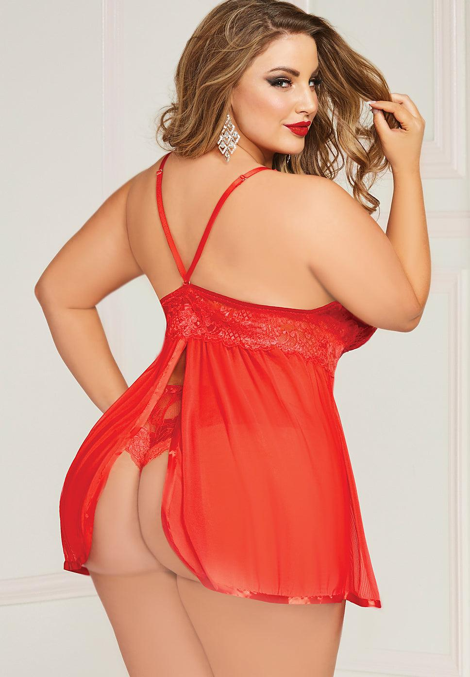 Cherry Berry Lace Babydoll - Queen