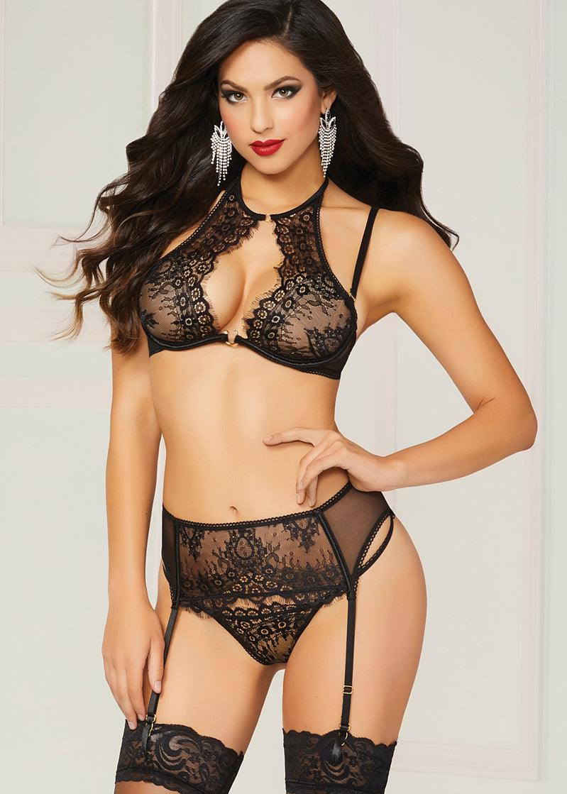 Black Roses 3 pc Panty, Bra & Garterbelt Set
