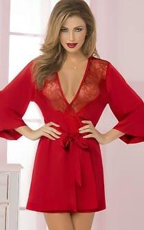 Dreaming Of You Lace & Satin Robe Red