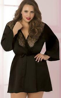Dreaming Of You Lace & Satin Robe Black Plus Size