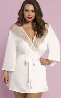 Dreaming Of You Lace & Satin Robe White Plus Size
