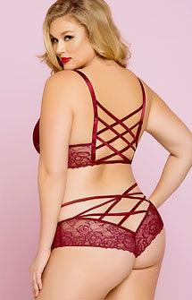 Bringing Sexy Back Bra & Panty Set Plus Size Wine