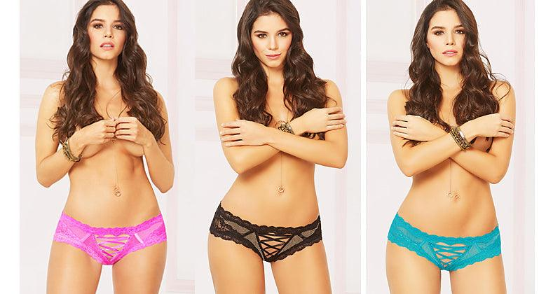 Lace Me Up Open Rump Panty Trio