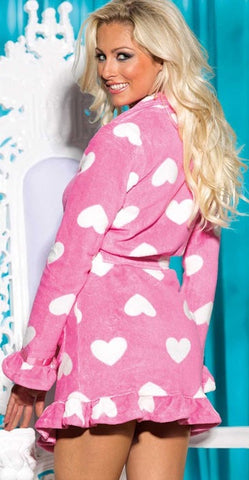 Pink Heart Fluffy Robe