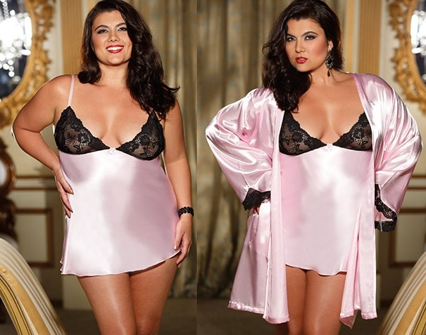 Pink Plum Robe & Nightie Plus Size