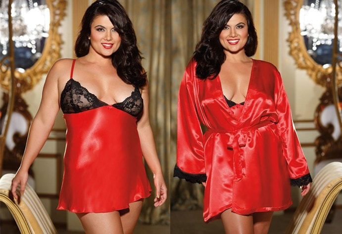 Red Cherry Robe & Nightie Plus Size