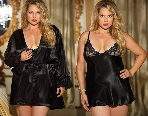Nights in Black Satin Plus Size Robe & Nightie Set