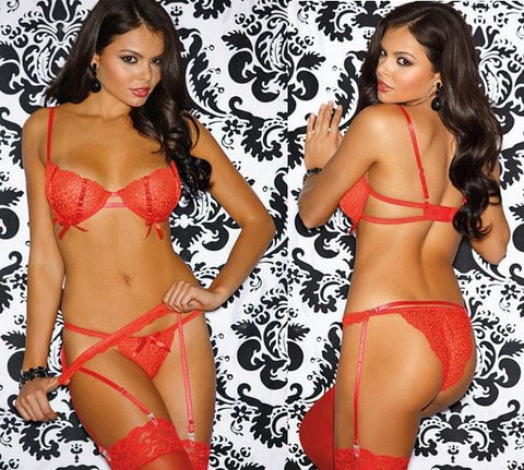 Red Raven 3-pc Lace Panty, Bra & Garterbelt Set