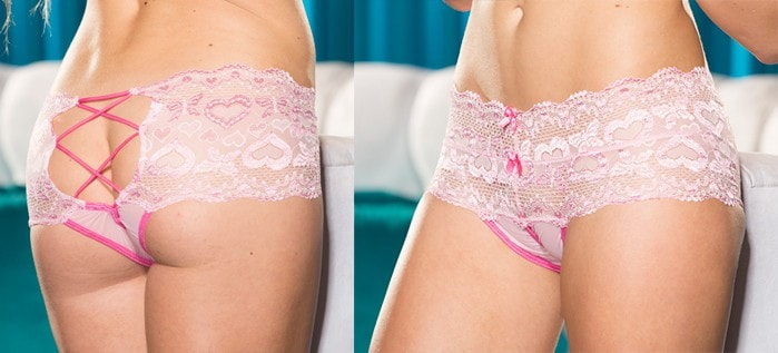 Pink Romance Lace-Up Crotchless Panty