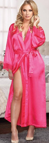 Bright Pink Satin & Lace Gown & Robe