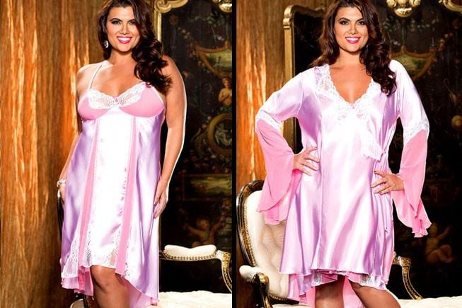 Pink Sensation Gown & Robe Penoir Set Plus Size
