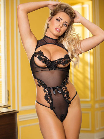 Glisenette & Venice Lace Cut-out Teddy