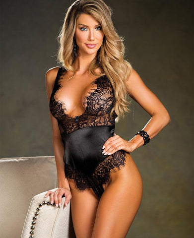 French Elegance Deep Plunge Teddy