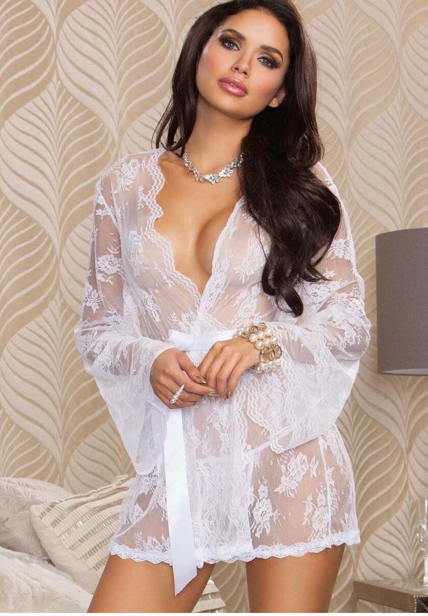See-thru Virgin Lace Robe & Corset