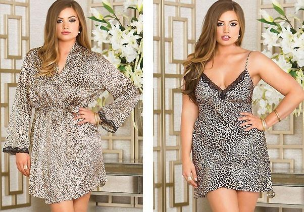 Leopard Penoir 2pc Set Plus Size