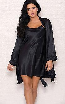 Black Satin Elvira 2pc Luxury Penoir Set