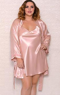Rose Gold Satin 2pc Set Queen