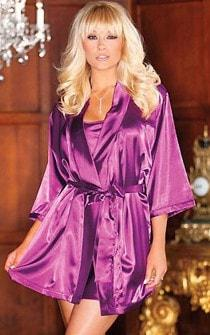 Purple Passion 2pc Satin Penoir Set