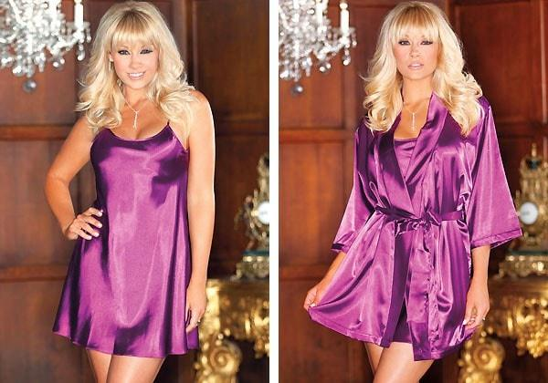 Purple Passions 2pc Satin Penoir Set