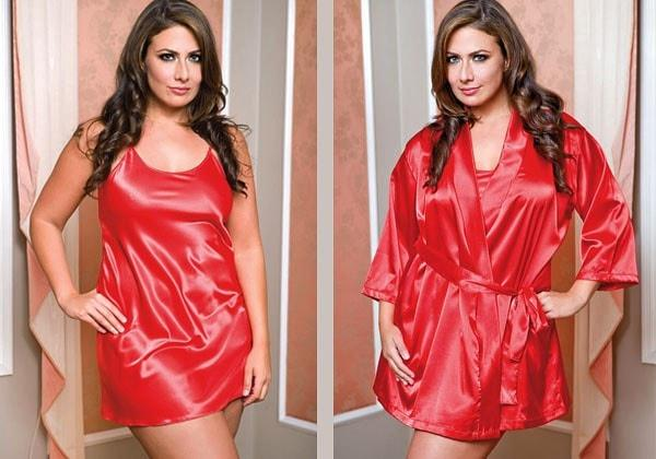 Red Passions 2pc Satin Penoir Set Plus Size