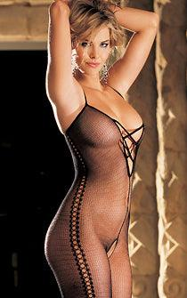 Beaded Lace Open Front Body Stocking