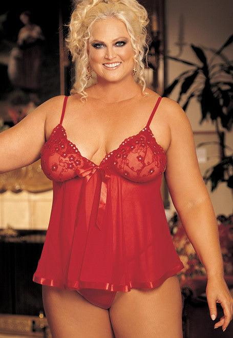 Red Plum Babydoll Nightie Queen