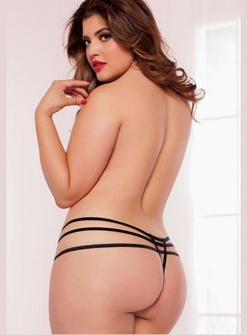 Double Dare Diamond Cut Thong Plus Size