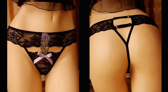 Black Crocus Thong Panty