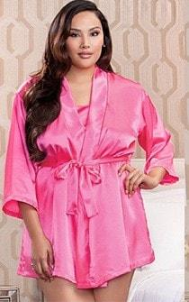 Bright Pink Satin & Lace Nightie & Robe 2pc Set - Panties.com