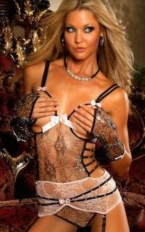 Chantilly Lace Corset 5-pc Set - Panties.com