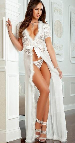 Ivory Sheer n' Furry Robe