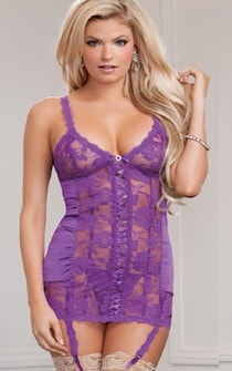 Lilac Lace Nightie with Garters