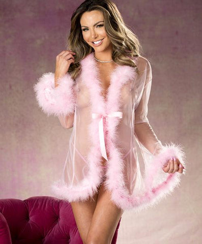 Fluffy Feather See-thru Robe