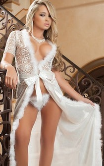 Sheer n' Furry Robe & Thong