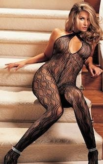 Swirl Lace Halter Body Stocking
