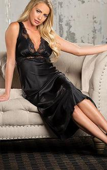 Black Satin Valentine Gown
