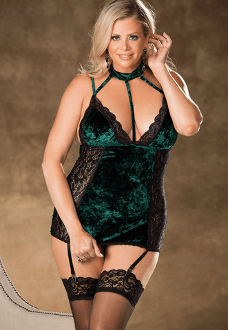 Emerald City Velvet & Lace Chemise Queen