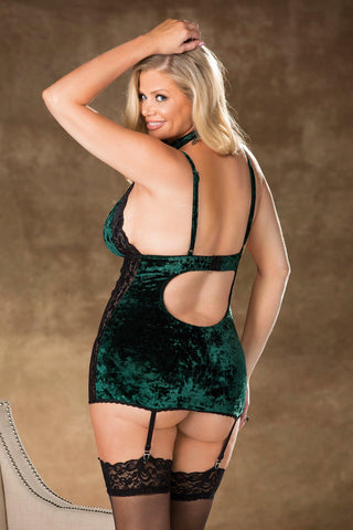 Emerald City Crushed Velvet & Lace Chemise