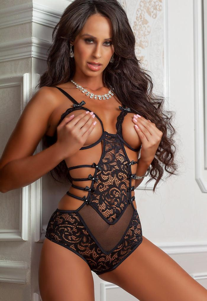 Lacy Black Boob-Out Teddy