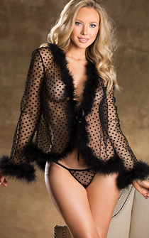Naughty Girl Feathered Robe or Babydoll