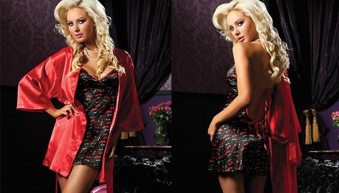 Santa's Satin Nightie & Robe 2-pc Set