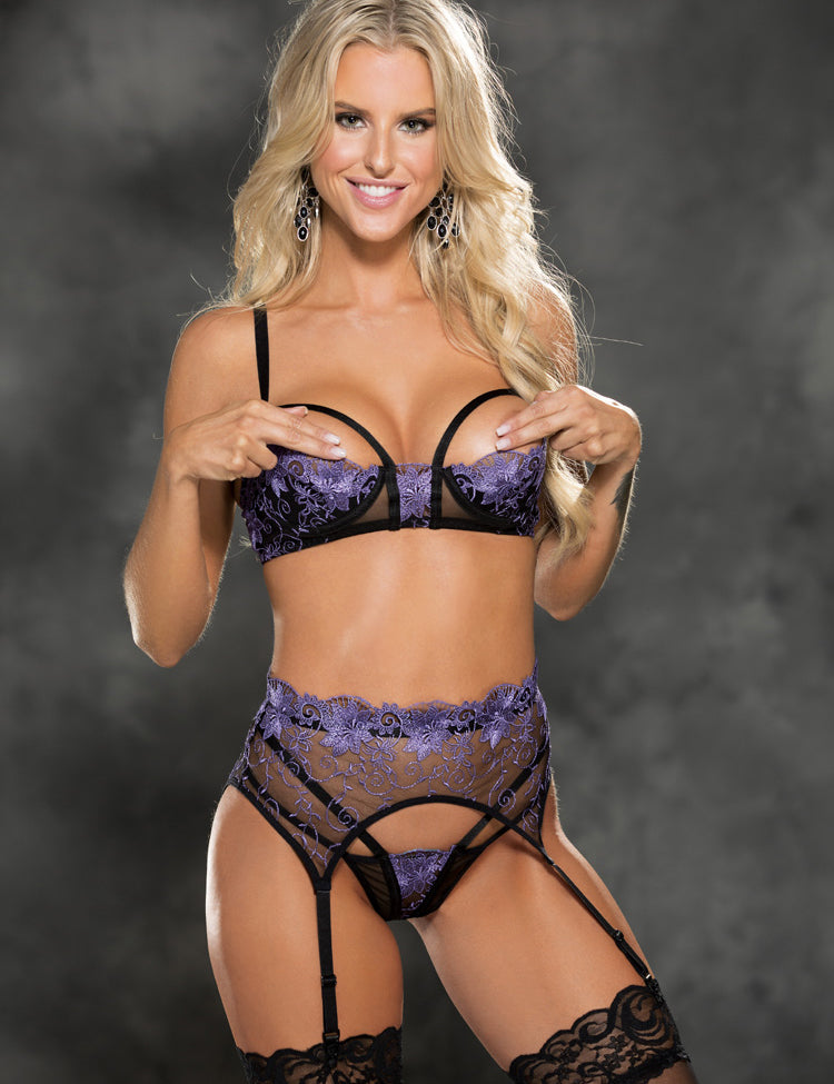 Purple Luxury Thong & Bra 2 pc Set