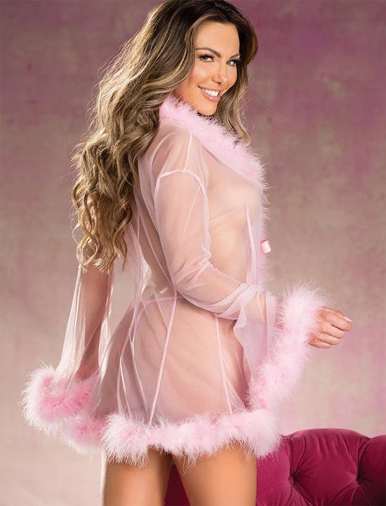 See-thru Fluffy Feathered Robe